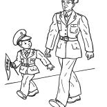 Military, Military Soldier And His Son Coloring Pages: Military Soldier and His Son Coloring Pages