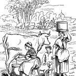 Milking Cow, Milking Cow Activity Coloring Pages: Milking Cow Activity Coloring Pages