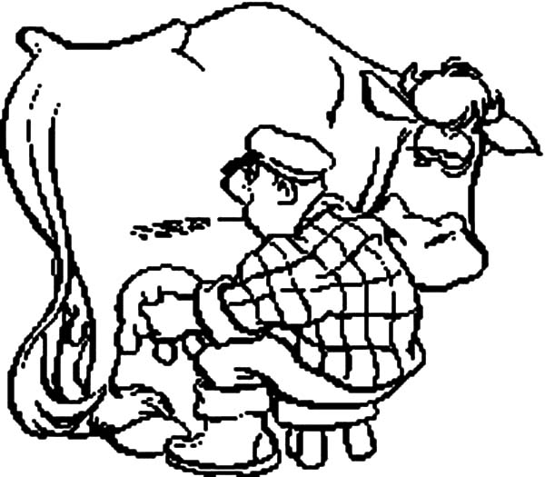 Milking Cow, : Milking Cow Coloring Pages for Kids