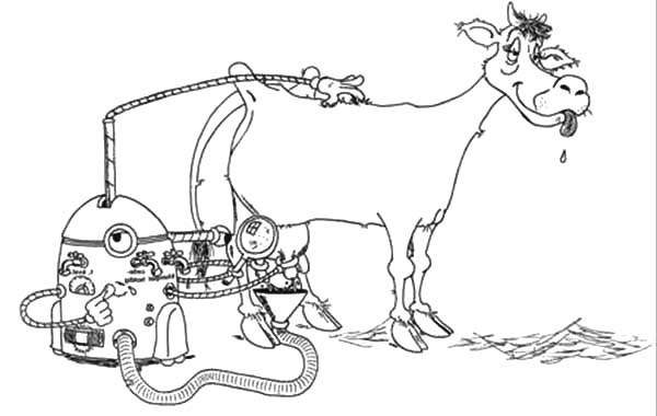 Milking Cow, : Milking Cow Robot Coloring Pages