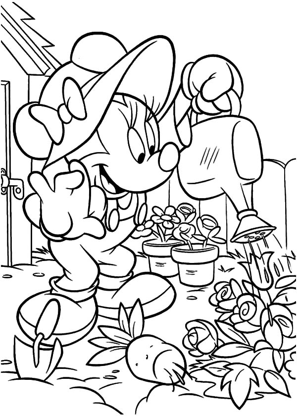Garden, : Minnie Mouse Working in the Garden Coloring Pages