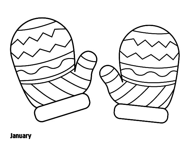 Mittens, : Mittens Winter Season Coloring Pages