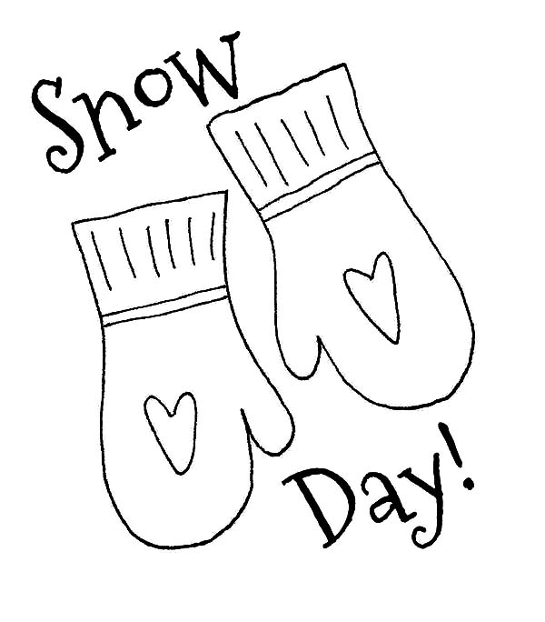 Mittens, : Mittens for Snow Day Coloring Pages