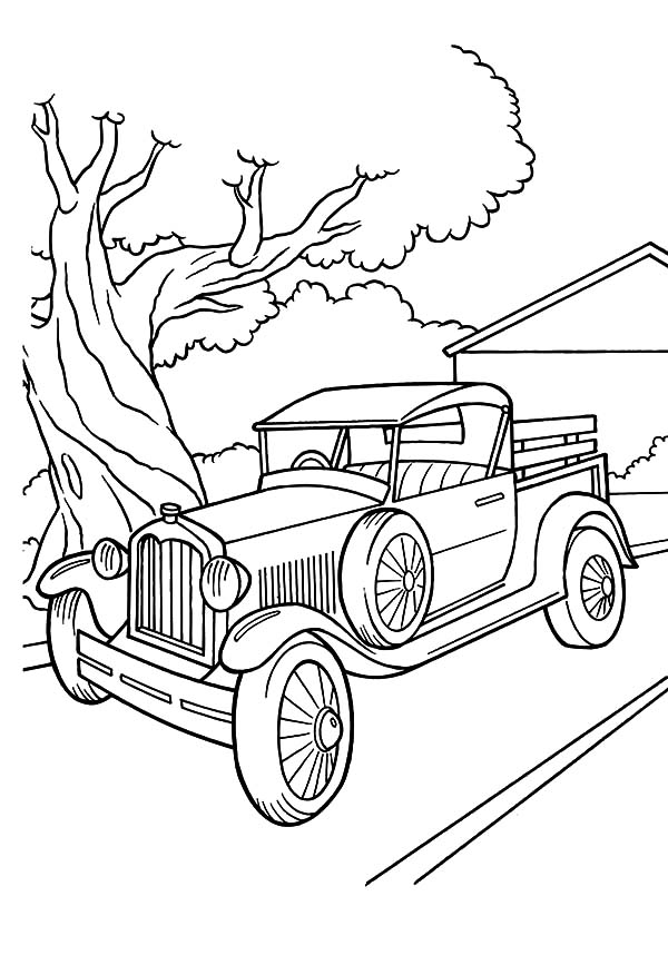 Model t Car, : Model T Car Parked Beside a Tree Coloring Pages