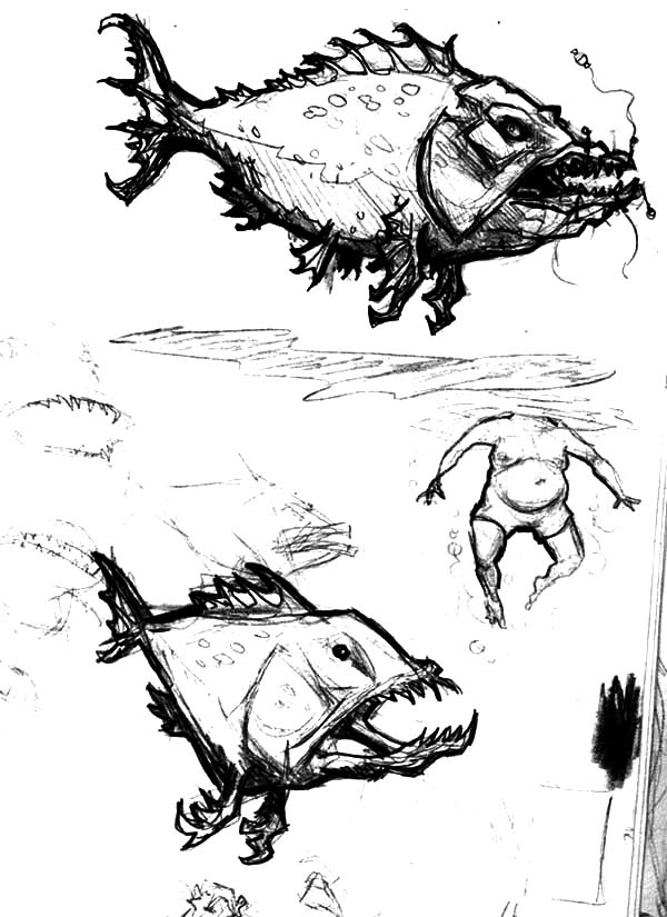 Monster Fish, : Monster Fish Attacking Human Coloring Pages