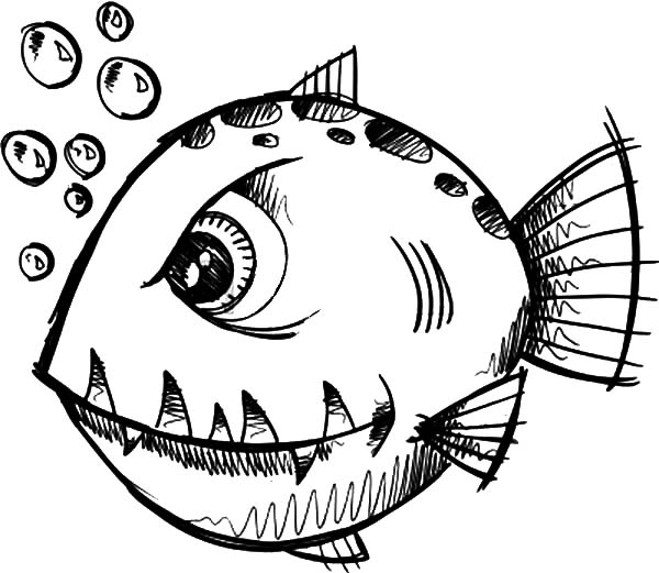Monster Fish, : Monster Fish Coloring Pages