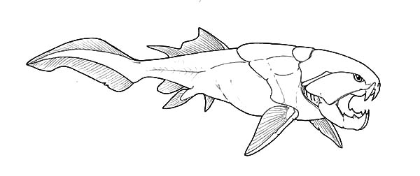 Monster Fish, : Monster Fish Fossil Coloring Pages