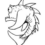 Monster Fish, Monster Fish Is Surprised Coloring Pages: Monster Fish is Surprised Coloring Pages