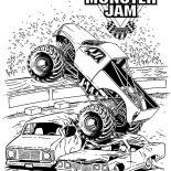 Monster Jam, Monster Jam Crushing Cars Coloring Pages: Monster Jam Crushing Cars Coloring Pages