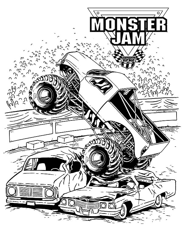 Monster Jam, : Monster Jam Crushing Cars Coloring Pages