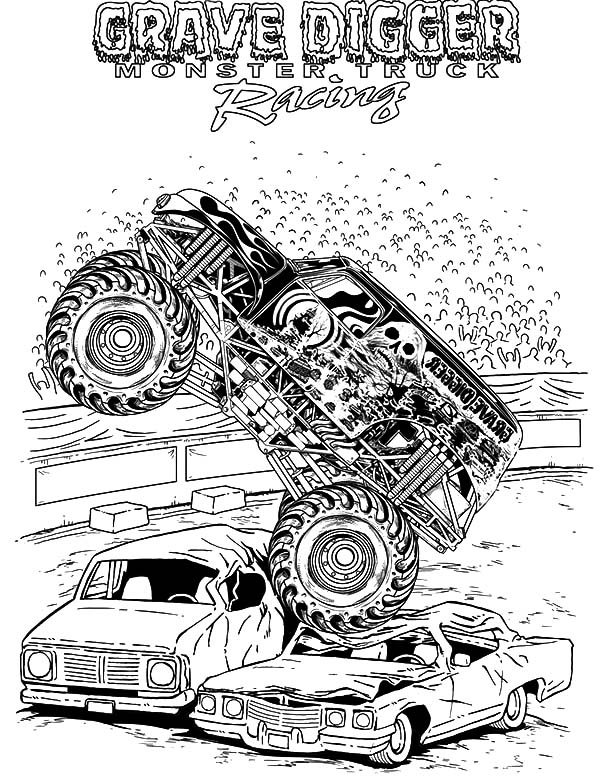 Monster Jam, Monster Jam Grave Digger Coloring Pages: Monster Jam Grave Digger Coloring Pages