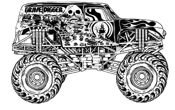 Monster Jam, : Monster Jam Racing anf Freestyle Coloring Pages