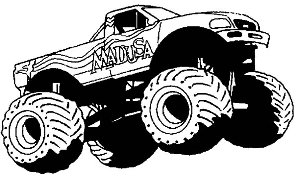 Monster Jam, Monster Jam Wheelie Competition Coloring Pages: Monster Jam Wheelie Competition Coloring Pages