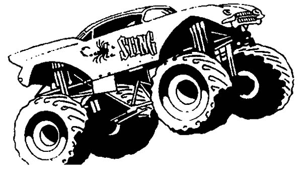 Monster Jam, : Monster Truck Sting Monster Jam Coloring Pages