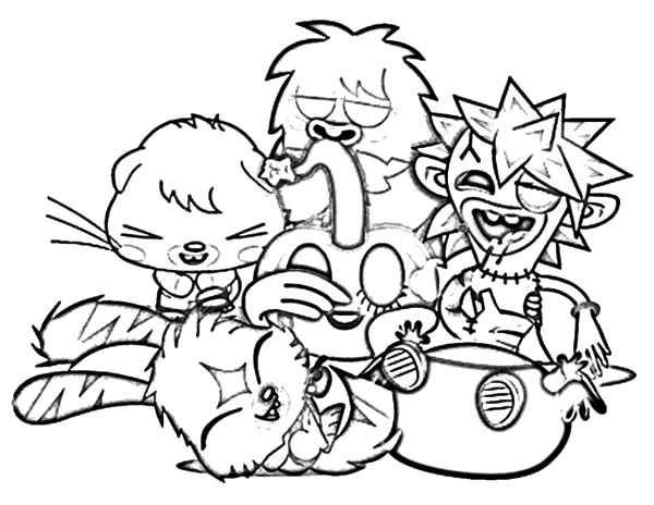 Moshi, : Moshi Monster Gathering Coloring Pages