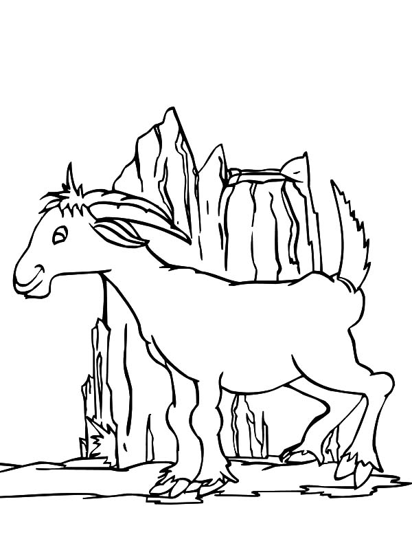 Mountain Goat, Mountain Goat Playing Around Hill Coloring Pages: Mountain Goat Playing Around Hill Coloring Pages