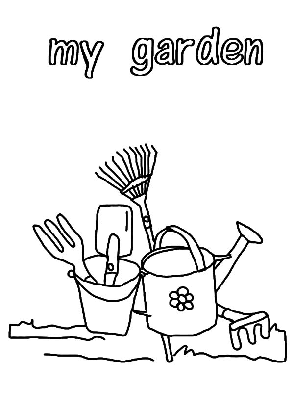 Garden, : My Garden Gardening Tools Coloring Pages