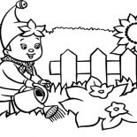 Garden, Noddy Waters The Garden Coloring Pages: Noddy Waters the Garden Coloring Pages
