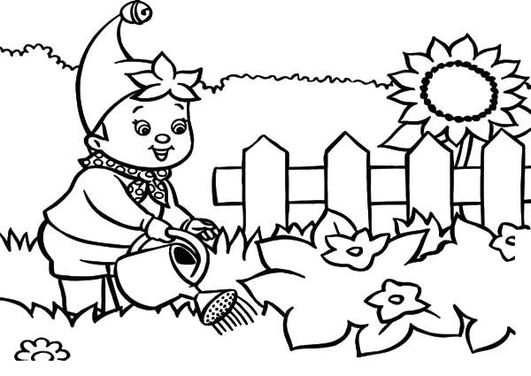 Garden, : Noddy Waters the Garden Coloring Pages