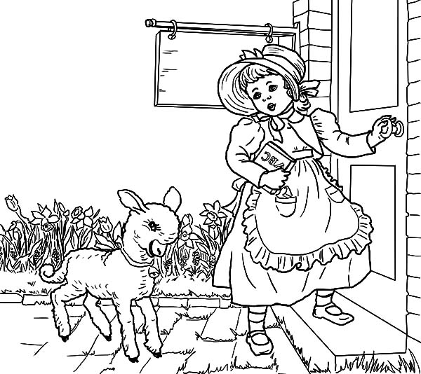 Mary Had a Little Lamb, : Nursery Rhyme Mary Had a Little Lamb Coloring Pages