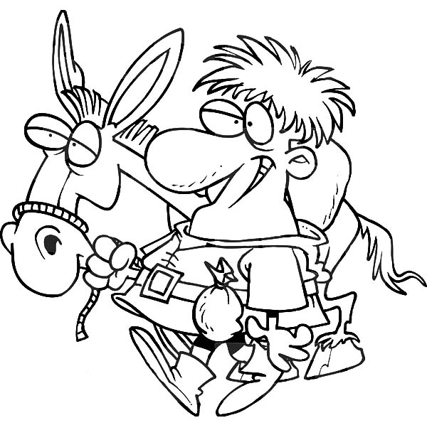 Mexican Donkey, : Peddler with a Mexican Donkey Coloring Pages
