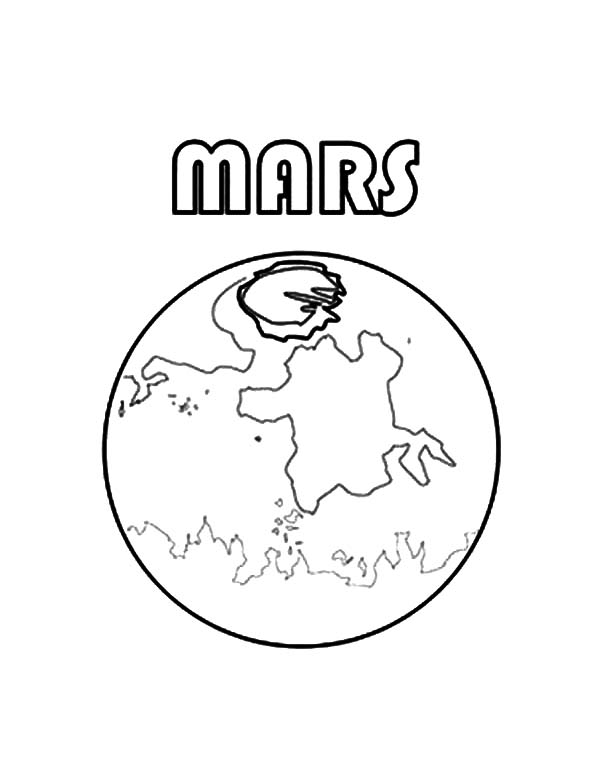 Mars, : Picture of Planet Mars Coloring Pages