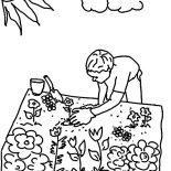Garden, Planting Seed In Flower Garden Coloring Pages: Planting Seed in Flower Garden Coloring Pages