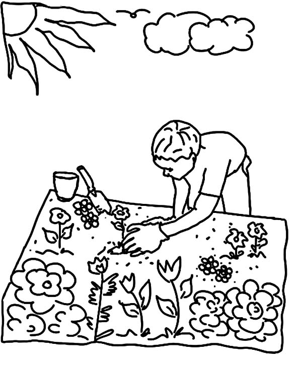Garden, : Planting Seed in Flower Garden Coloring Pages