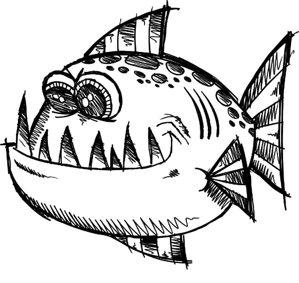Monster Fish, : Poisonous Monster Fish Coloring Pages