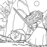 Merida, Princess Merida About To Execute Bear Coloring Pages: Princess Merida About to Execute Bear Coloring Pages