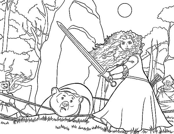 Merida, : Princess Merida About to Execute Bear Coloring Pages