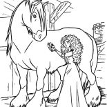Merida, Princess Merida Cleaning Her Horse Coloring Pages: Princess Merida Cleaning Her Horse Coloring Pages