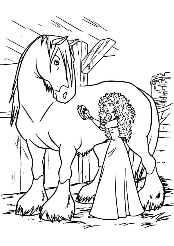 Merida, : Princess Merida Cleaning Her Horse Coloring Pages