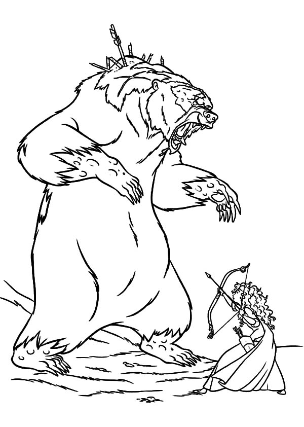 Merida Princess Fight Mor Du Coloring Pages