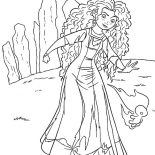 Merida, Princess Merida Following Will O The Wisps To Witch House Coloring Pages: Princess Merida Following Will O the Wisps to Witch House Coloring Pages