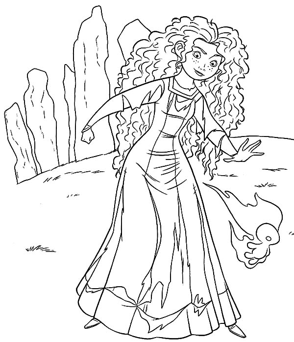 Merida, : Princess Merida Following Will O the Wisps to Witch House Coloring Pages