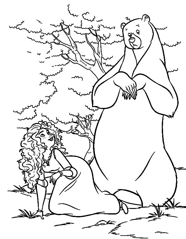 Merida, : Princess Merida Fooling Around with Her Mother Queen Elinor Coloring Pages