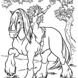 Merida, Princess Merida Pick Fruit From Horseback Coloring Pages: Princess Merida Pick Fruit from Horseback Coloring Pages