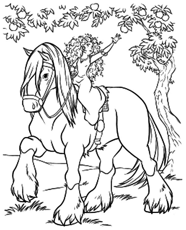Merida, : Princess Merida Pick Fruit from Horseback Coloring Pages
