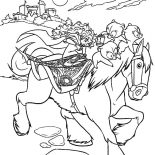 Merida, Princess Merida Riding Horse With Her Three Little Brother Coloring Pages: Princess Merida Riding Horse with Her Three Little Brother Coloring Pages