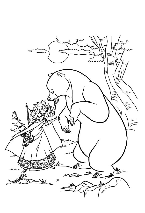 Merida, : Princess Merida Saw Her Mother Turned into a Bear Coloring Pages