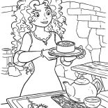 Merida, Princess Merida Serving Cookie And Tea Coloring Pages: Princess Merida Serving Cookie and Tea Coloring Pages