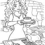 Merida, Princess Merida Serving Cookie And Tea Coloring Pages: Princess Merida Serving Cookie and Tea Coloring Pages