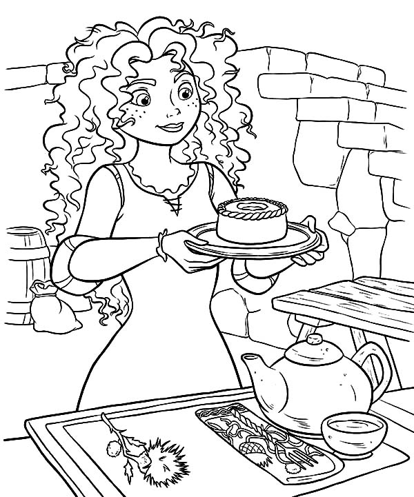 Merida, : Princess Merida Serving Cookie and Tea Coloring Pages