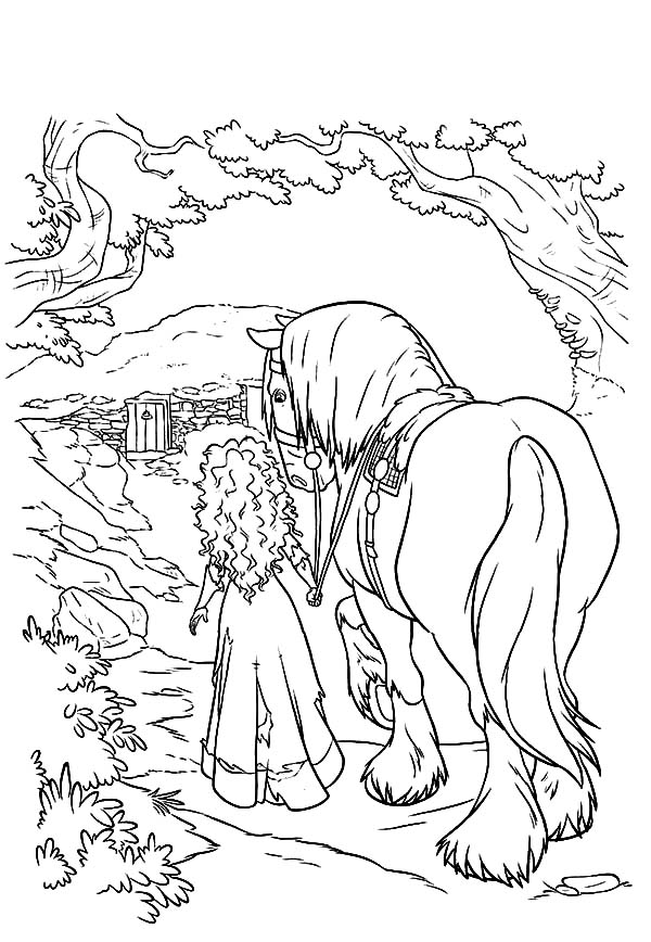 Princess Merida Take Her Horse Home Coloring Pages
