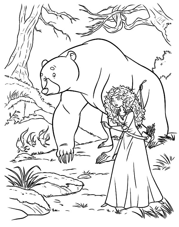 Merida, : Princess Merida and Her Mother Following Will O the Wisps Coloring Pages
