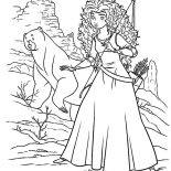 Merida, Princess Merida And Her Mother Wander To Witch Cottage Coloring Pages: Princess Merida and Her Mother Wander to Witch Cottage Coloring Pages