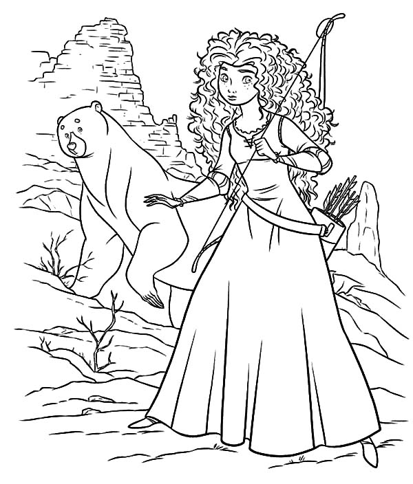 Merida, : Princess Merida and Her Mother Wander to Witch Cottage Coloring Pages