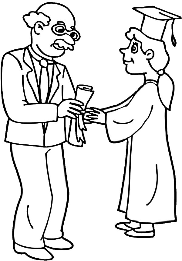 Graduation, : Professor Handed Diploma to Student on Graduation Day Coloring Pages