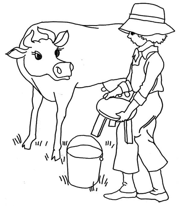 Milking Cow, : Put Little Chair Before Milking Cow Coloring Pages